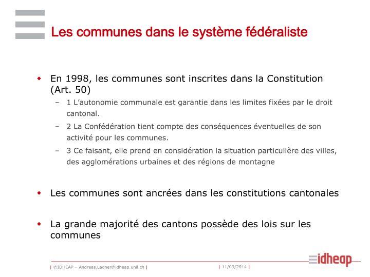 Les communes dans le système fédéraliste