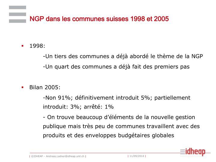 NGP dans les communes suisses 1998 et 2005