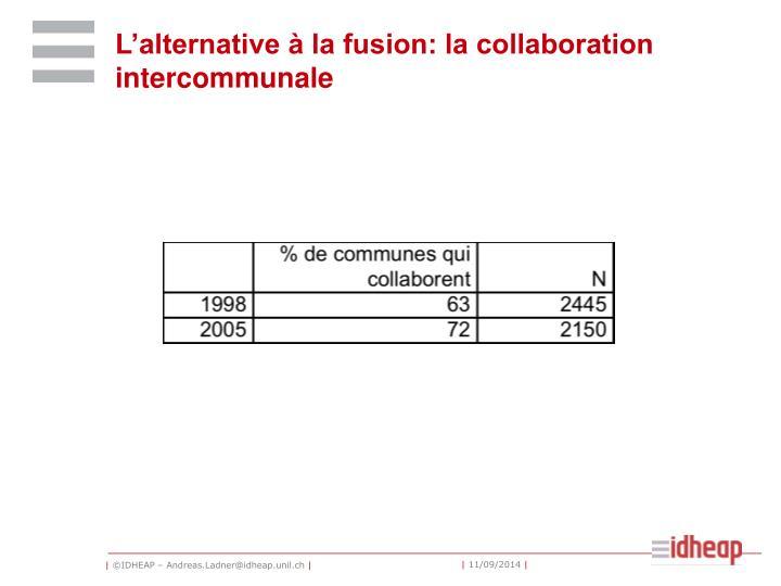 L'alternative à la fusion: la collaboration intercommunale