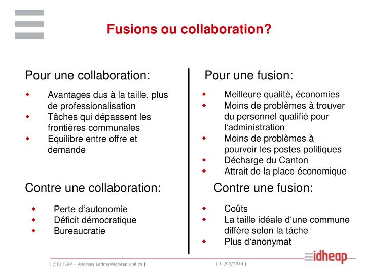 Fusions ou collaboration?