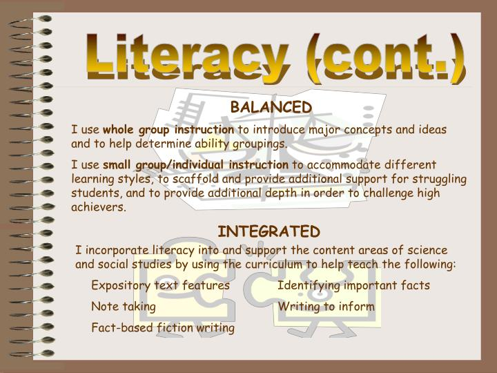 Literacy (cont.)