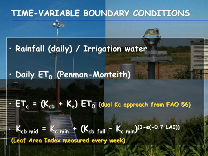 TIME-VARIABLE BOUNDARY CONDITIONS