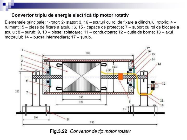 Convertor triplu de energie electrică tip motor rotativ