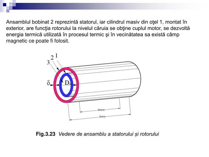 Ansamblul bobinat 2 reprezintă statorul, iar cilindrul masiv din oţel 1, montat în exterior, are funcţia rotorului la nivelul căruia se obţine cuplul motor, se dezvoltă energia termică utilizată în procesul termic şi în vecinătatea sa există câmp magnetic ce poate fi folosit.