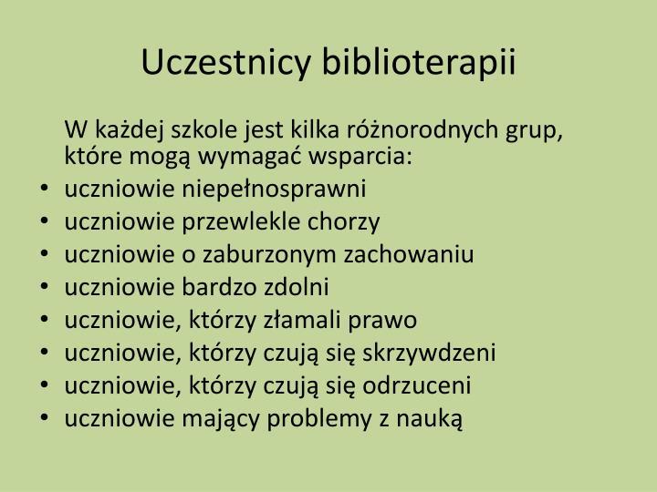 Uczestnicy biblioterapii