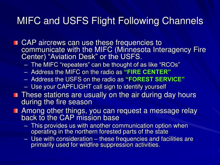 MIFC and USFS Flight Following Channels