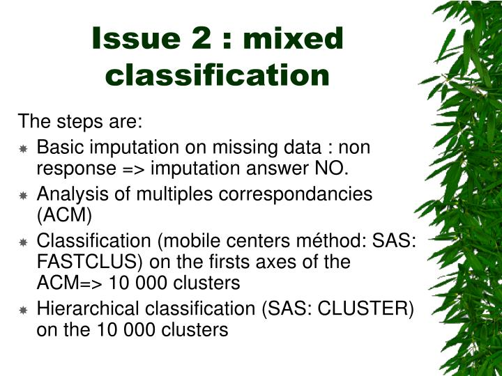 Issue 2 : mixed classification