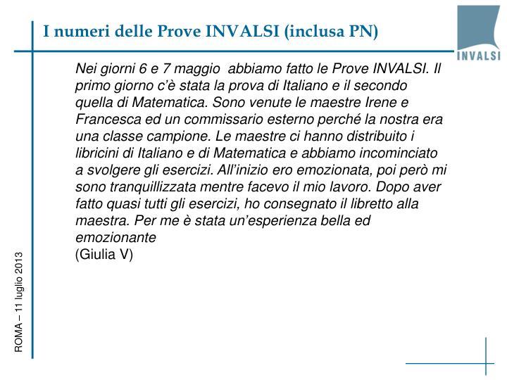 I numeri delle Prove INVALSI (inclusa PN)