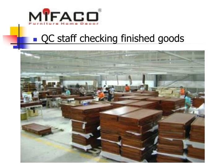 QC staff checking finished goods