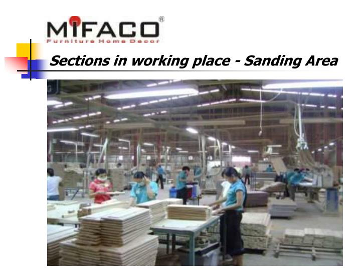 Sections in working place - Sanding Area