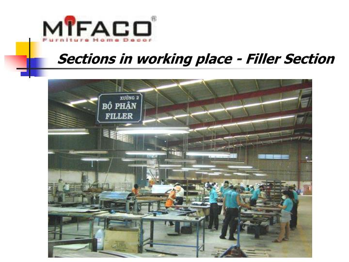 Sections in working place - Filler Section