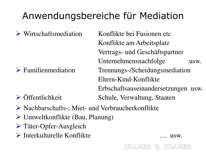 Anwendungsbereiche für Mediation
