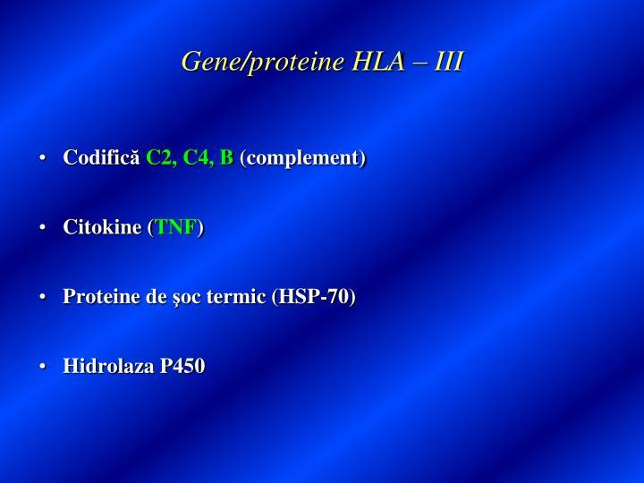 Gene/proteine HLA – III