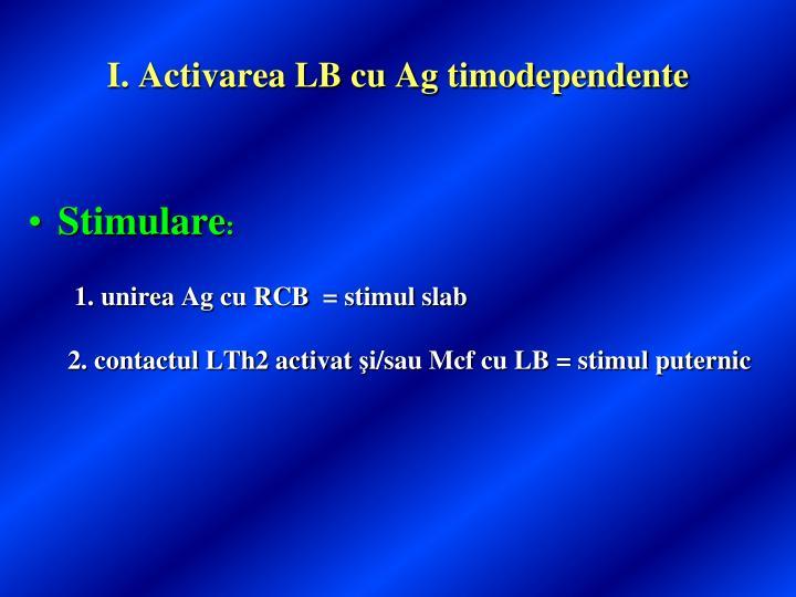 I. Activarea LB cu Ag timodependente