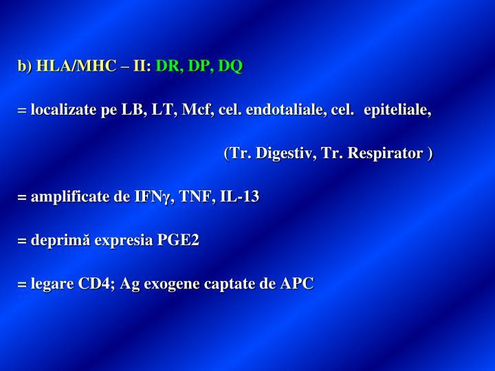 b) HLA/MHC – II:
