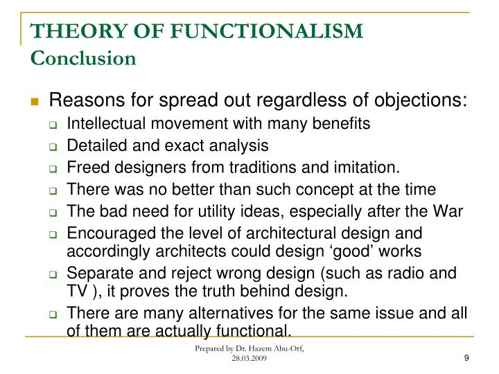 THEORY OF FUNCTIONALISM