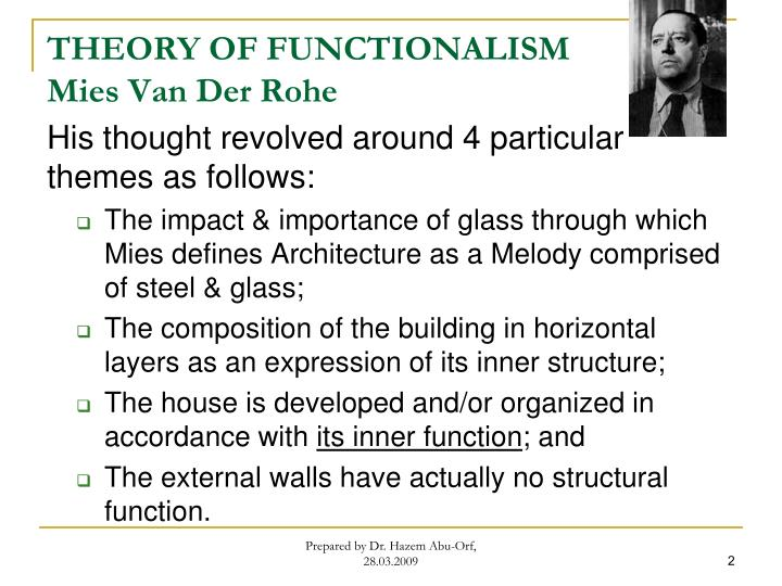 Theory of functionalism mies van der rohe