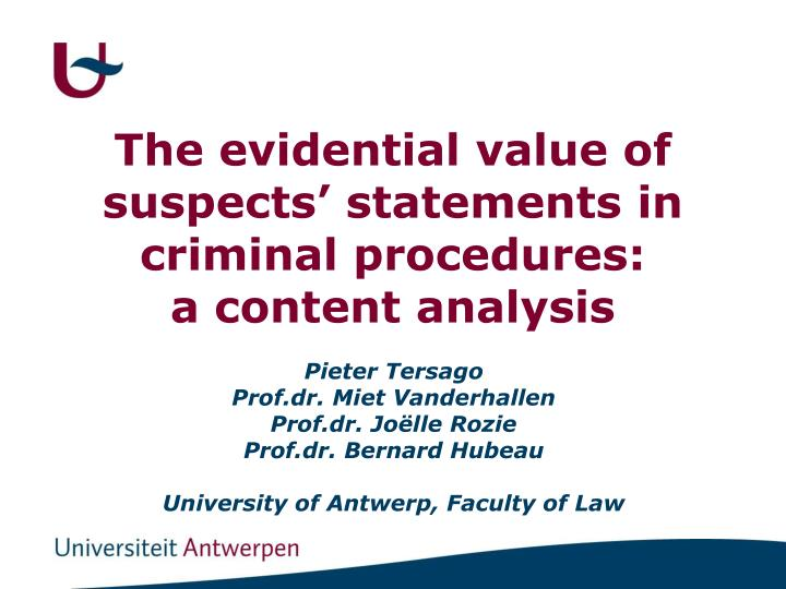 The evidential value of suspects