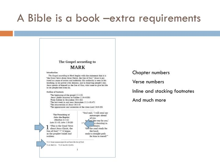 A Bible is a book –extra requirements