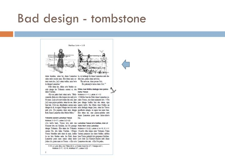 Bad design - tombstone