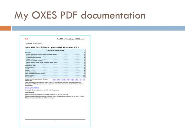 My OXES PDF documentation