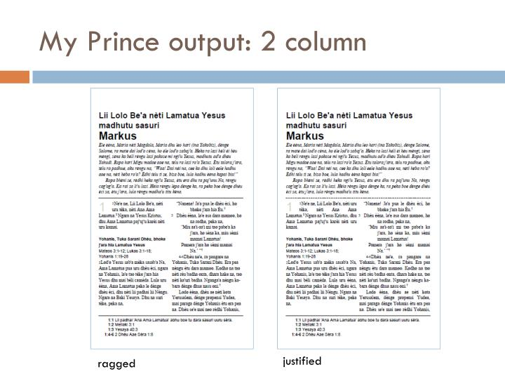 My Prince output: 2 column