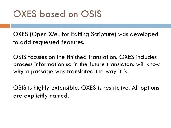OXES based on OSIS