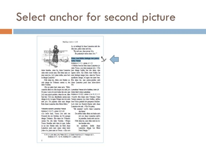 Select anchor for second picture