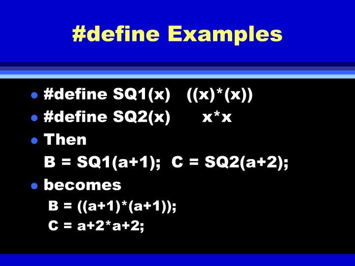 #define Examples