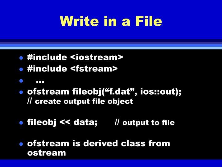 Write in a File