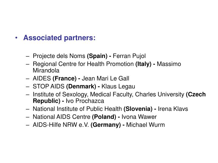 Associated partners: