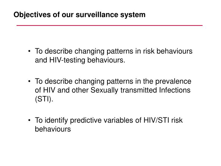 To describe changing patterns in risk behaviours and HIV-testing behaviours.