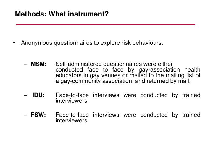 Anonymous questionnaires to explore risk behaviours: