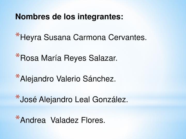 Nombres de los integrantes: