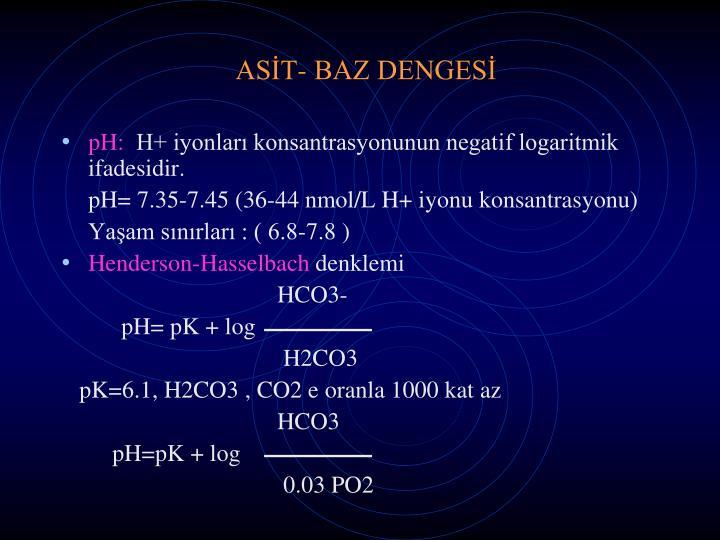 ASİT- BAZ DENGESİ