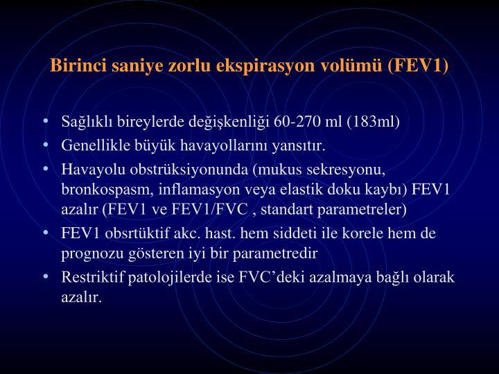 Birinci saniye zorlu ekspirasyon volümü (FEV1)