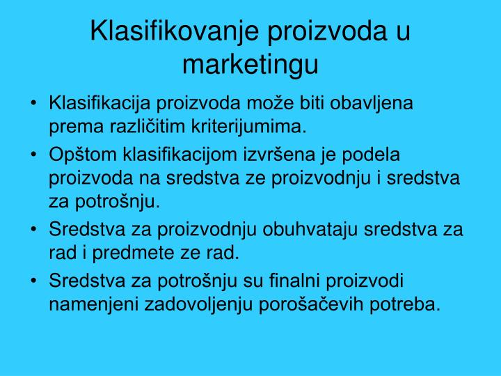 Klasifikovanje proizvoda u marketingu