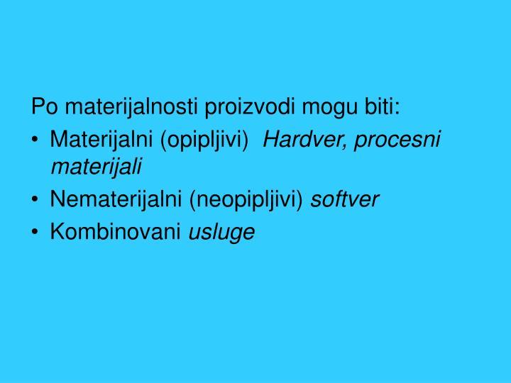 Po materijalnosti proizvodi mogu biti: