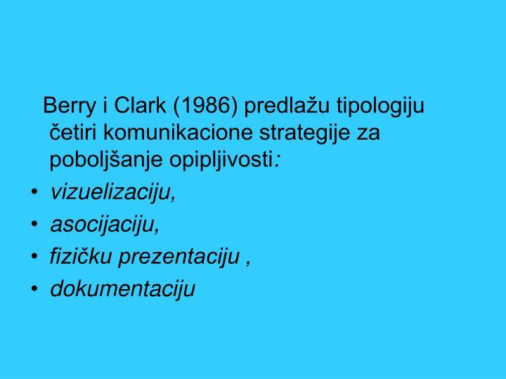 Berry i Clark (1986) predlažu tipologiju četiri komunikacione strategije za poboljšanje opipljivosti