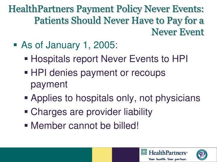 HealthPartners Payment Policy Never Events:
