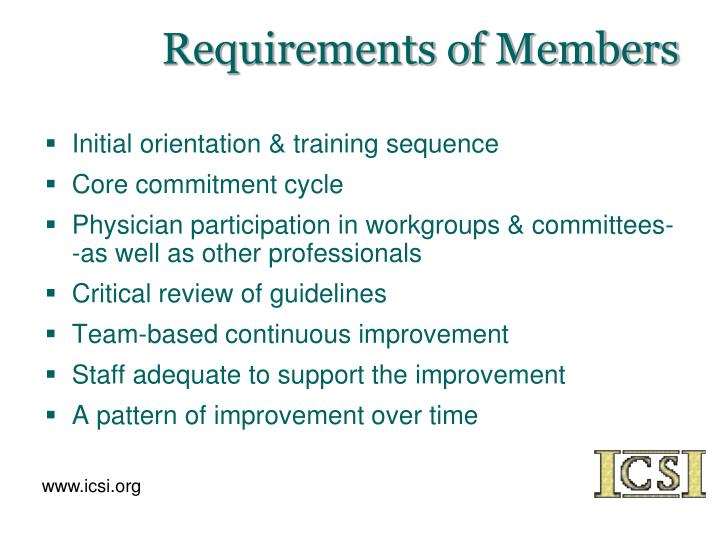 Requirements of Members