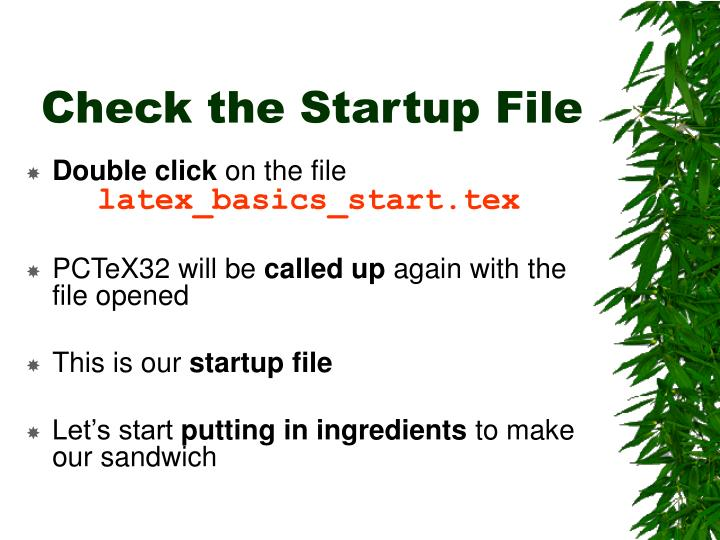 Check the Startup File