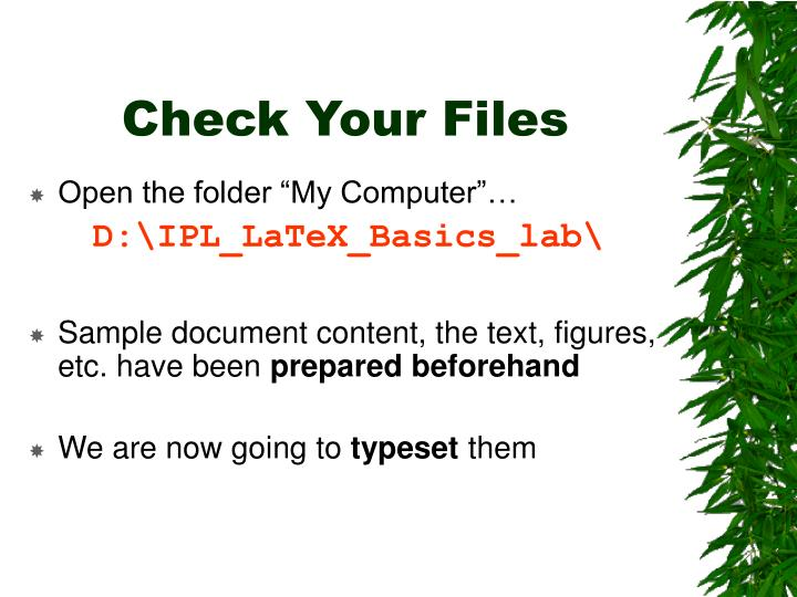 Check Your Files