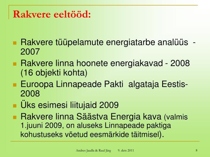 Rakvere eeltööd: