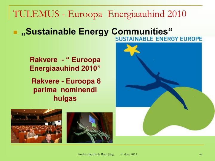 TULEMUS - Euroopa  Energiaauhind 2010