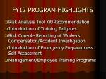 fy12 program highlights