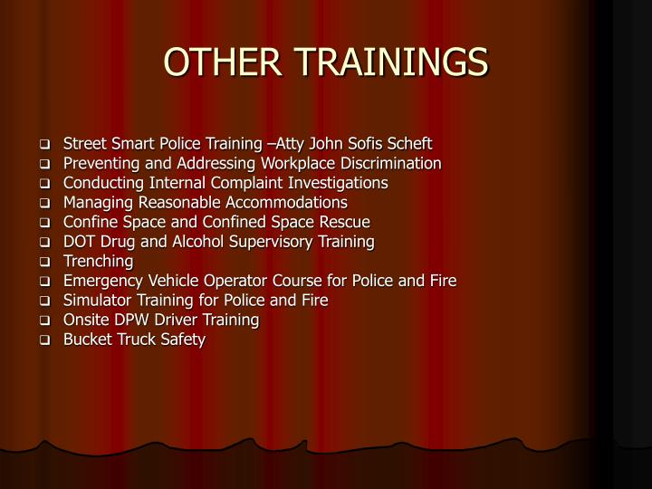 OTHER TRAININGS