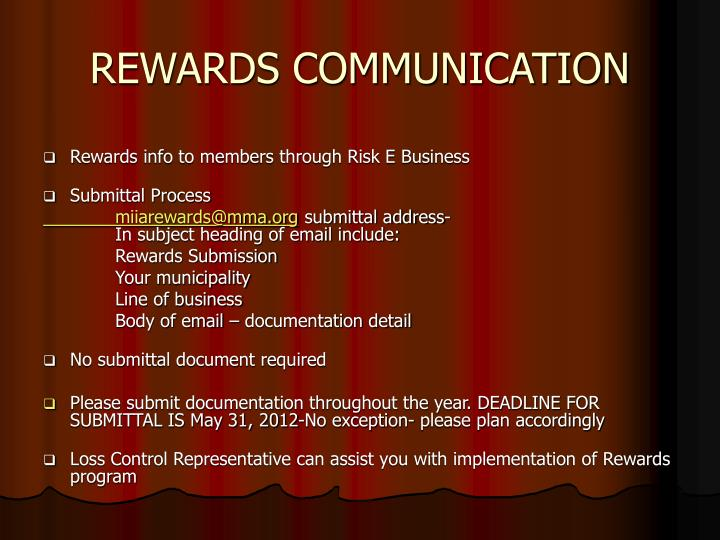 REWARDS COMMUNICATION