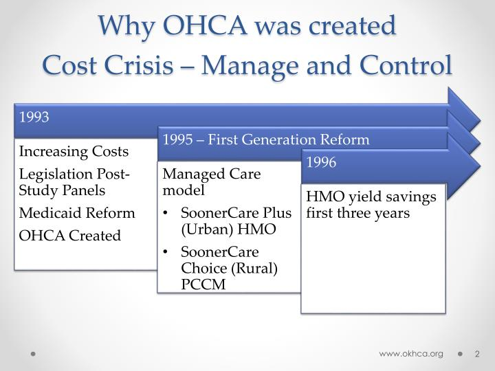 Why ohca was created cost crisis manage and control