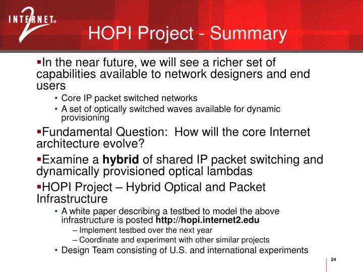 HOPI Project - Summary